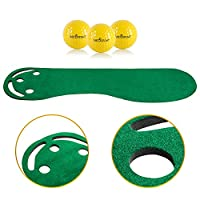 Golf Putting Green Grassroots Mat - 9ft by 3ft – Includes Free 3 Yellow Golf Balls - Ideal for Outdoor & Indoor – for Practicing, Training – Thicker and Wider Surface – For All Ages!