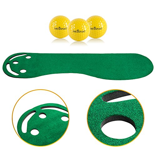 Golf Putting Green Grassroots Mat – 9ft by 3ft Includes Free 3 Yellow Golf Balls – Ideal for Outdoor Indoor for Practicing, Training Thicker and Wider Surface For All Ages