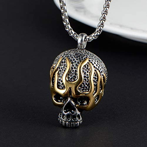 Inveroo Stainless Steel Men Necklaces Chain Pendants Hellfire Skull Punk Rock Hip Hop Creativity for Male Boyfriend Fashion Jewelry Gift 60cm