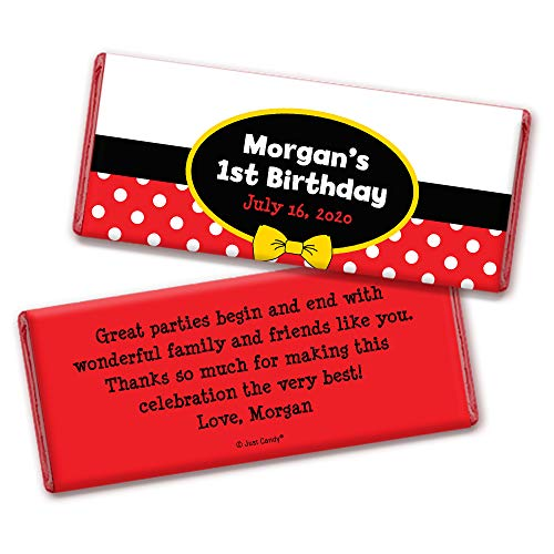 Personalized Mickey Mouse Themed Kids Birthday Party Favors Chocolate Bar Wrappers (25 Wrappers)
