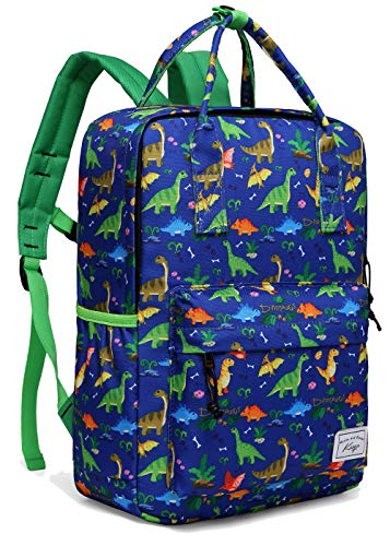 Personalized Dinosaur - Backpack for Boys, Kasqo Kids Backpack Personalized Preschool Backpack for Kindergarten Children Lightweight Daypack with Chest Strap in Dinosaur