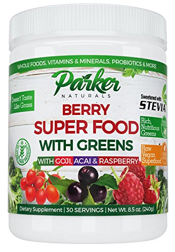 Berry Green Superfood with Goji, Acai & Raspberry, Raw Organic Nutrition- Vegan & Gluten Free - 240 Grams Green Label Organic Support