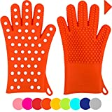 Finally! Heavy-Duty Women's Silicone Oven Mitts by Love This Kitchen | 2 Sizes Available in 9 Colors | Heat Resistant Gloves For Her Cooking, Baking & Barbecue Needs (1 Pair, XS/S, Orange)
