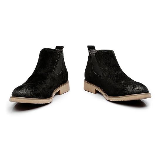 Chaussures Slip-on en cuir pour hommes Plaque souple double Bottines en cuir véritable pour semelles extérieures Chaussures de sport en cuir pour hommes ( Color : Black , Size : 5.5 UK )