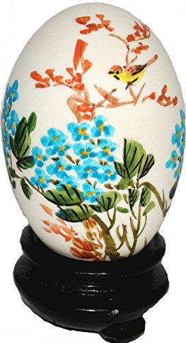 Yellow Bird Singing in Blue Flowers Hand Painted Egg (Chinese Painted Egg)