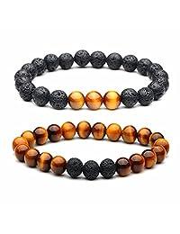 Lava Stone Chakra Turquoise Tiger Eye Beads Bracelet Essential Oil Diffuser Yoga Healing Energy Bracelet