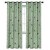 H.VERSAILTEX Turquoise Birds Country Style Pattern Thermal Insulated Blackout Curtains for Bedroom, Grommet Top, Set of 1 Panel, W52 x L84 Inch