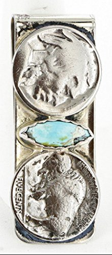 Navajo Old Vintage Money Natural Turquoise 350Tag Silver Native 2 Nickel Buffalo Style Coin Clip w6nRg01q
