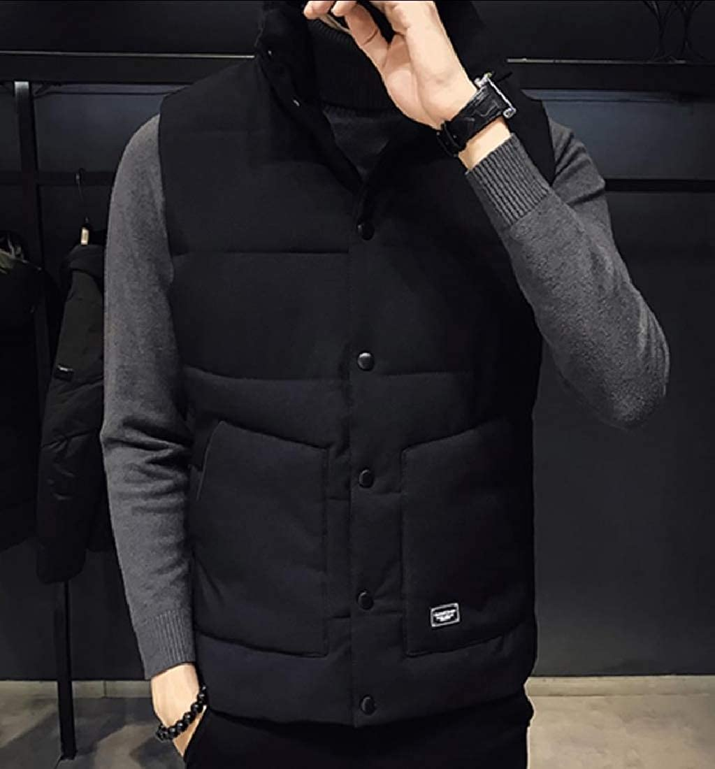 Abetteric Men Vest Thickened Stand Collar Down Padded Casual Warm Down Coat