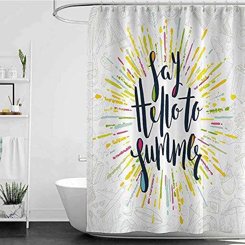 Shower Curtains Thick Yellow Decor,Say Hello to Summer Holiday Theme Pattern Handwritten Calligraphy Print,Yellow and Black W48 x L84,Shower Curtain for Shower stall