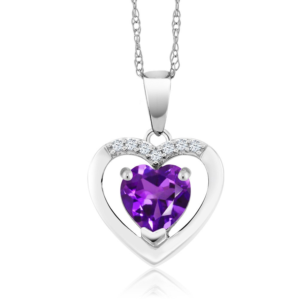 10K White Gold 0.70 Ct Purple Amethyst and Diamond Gemstone Birthstone Heart Pendant Necklace with 18 Inch Chain