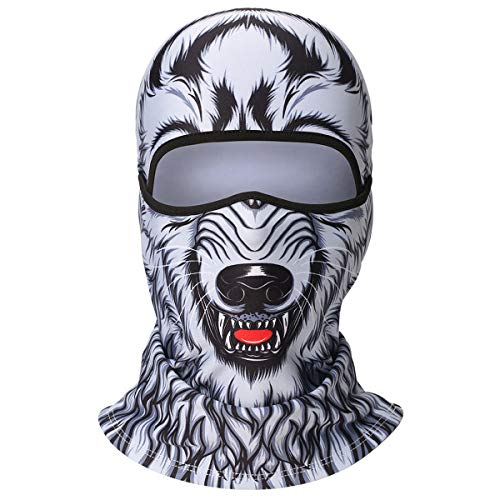 WTACTFUL 3D Animal Fleece Neck Warmer Thermal Windproof Balaclava Face Mask Protection Hood Cover for Ski Snowboard Skateboard Cycling Motorcycle Music Festivals Raves Halloween Party Men Women -