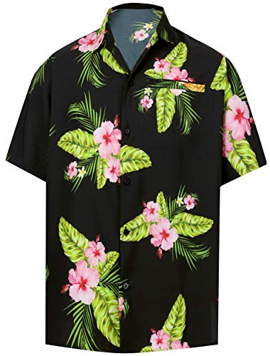 HAPPY BAY Men Hawaiian Shirt Collar Button Down Black_W606 2XL|Chest 54