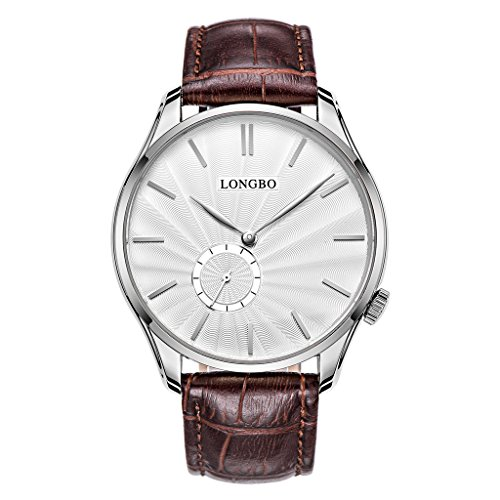 LONGBO Elegant Couple Dress Analog Quartz Women Men Watches Brown Crocodile Leather Band Lovers Wristwatches Casual Silver Case Watches (Crocodile Square Watch)