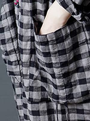 MissLook Women's Round Neck Checkered Plaid Long Sleeve Pockets Casual Midi Dress