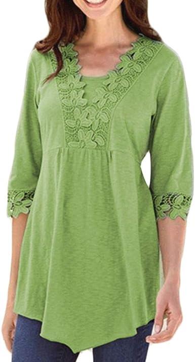 HongHu Camisa de casa Casual de Encaje para Mujer Blusa de algodón Tops Verde L: Amazon.es: Ropa y accesorios