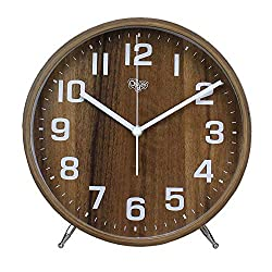 Justup 8 Inch Wood Table Clock, Retro Non-Ticking Table Desk Alarm Clock Battery Operated with Sweep Quartz Movement HD Glass Large Numerals Decorative for Bedroom Living Room Kids Room (Brown)