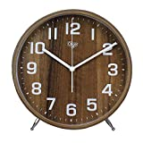 Justup 8 Inch Wood Table Clock, Retro Non-Ticking Table Desk Clock Battery Operated with Sweep Quartz Movement HD Glass Large Numerals Decorative for Bedroom Living Room Kids Room (Brown)