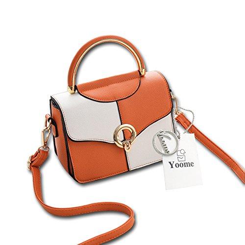 Flap Manico A Messenger Nero Yoome Tracolla Arcuate Ragazze Contrasto Borsa Cinghia Bag Donne Arancio Colore rT5Wq05wB