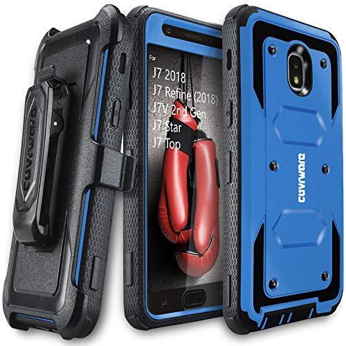 Samsung Galaxy J7 2018 / J7 Refine / J7V 2nd Gen / J7 Star / J7 Top Case, COVRWARE [Aegis Series] w/Built-in [Screen Protector] Heavy Duty Full-Body Armor Case [Belt Clip Holster][Kickstand], Blue
