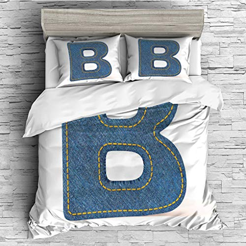 3 Pieces (1 Duvet Cover 2 Pillow Shams)/All Seasons/Home Comforter Bedding Sets Duvet Cover Sets for Adult Kids/Queen/Letter B,Jeans Clothing Retro Fashion Style Alphabet Elements Youth Typography Des