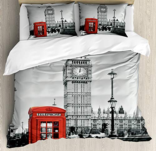 Ambesonne London Duvet Cover Set, Famous Telephone Booth and The Big Ben in England Street View of Town Retro, Decorative 3 Piece Bedding Set with 2 Pillow Shams, Queen Size, Red Grey