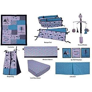 Bacati Woodlands 10 Pc Boys Cottoncrib Set with Bumper Pad, Aqua/Navy/Grey