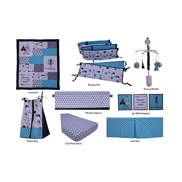 Bacati Woodlands 10 Pc Boys Cottoncrib Set with Bumper Pad, Aqua/Navy/Grey