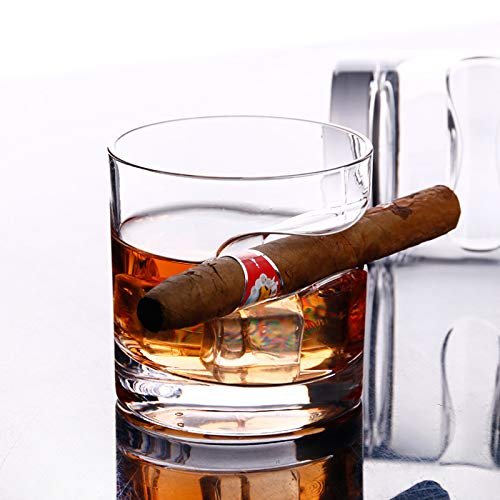 KYLINDRE Cigar Glass, Round Durable Steel Glass Cups with Cigar Holder, 1 Pair, 300ml for Beer, Whiskey Brandy Cigar Smoker