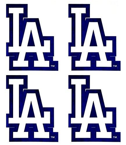 Set of 4 LA Dodgers Team Logo Stickers Four Individual Official Major League Baseball Helmet Emblems MLB Los ()