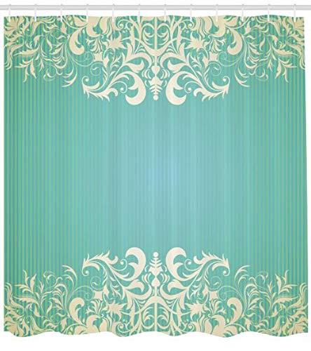 ABAKUHAUS Vendimia Cortina de Ba/ño Crema De Espuma De Mar Flora Antigua 175 x 200 cm Tela Sint/ética F/ácil Limpieza Estampa Moderna Colores Vibrantes
