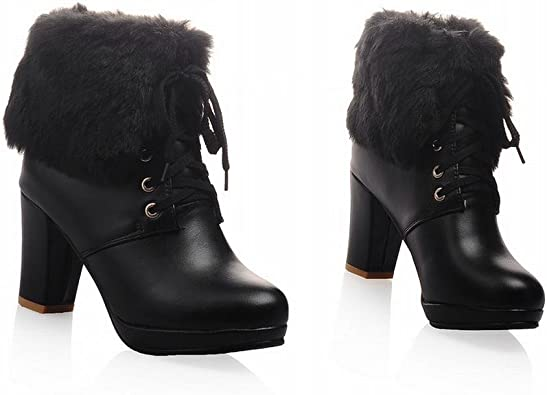 Amazon Com Aje Women S Cute Winter Lace Up High Heel Platform