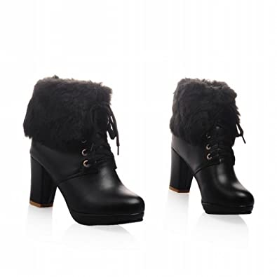 81210cfe5290 AJE Women s Cute Winter Lace-up High Heel Platform Ankle Boots (4.5