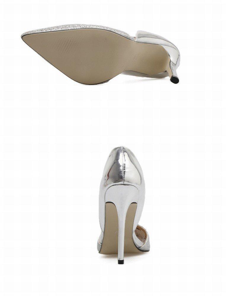 CXY Gold Gold CXY Silber Spitze Fein mit Hohen Absatz Hohlen Schuhe Hochzeit Schuhe Western Einzelne Schuhe,Silber-,40 - 19237c