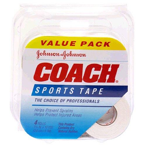 Johnson & Johnson Coach Sports Tape (1.5-Inch x 10-Yard Rolls), 4-Count Rolls (Pack of 2) by Johnson & Johnson