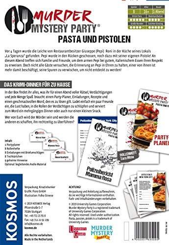 Kosmos 695095 - Murder Mystery Party - Pasta und Pistolen - Das Krimi-Dinner für zu Hause, Komplett-Set für genau 8 Personen ab 16 Jahren, Partyspiel