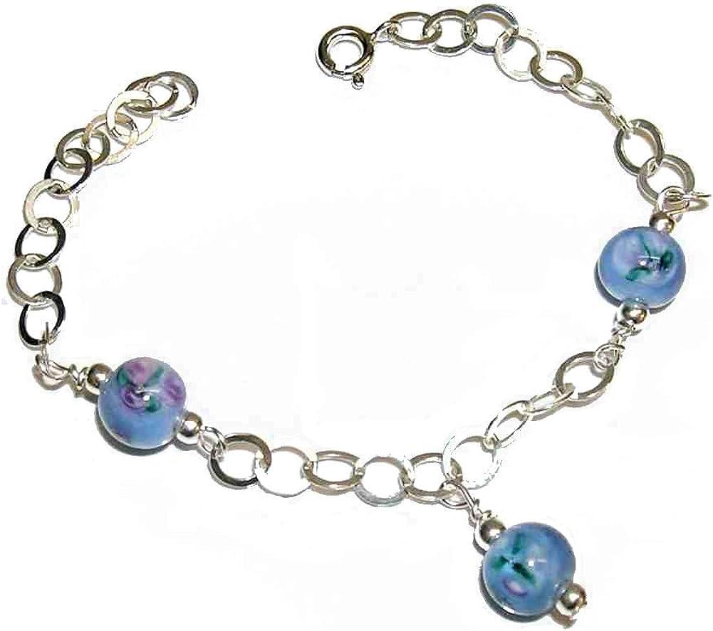 perlascarel Pulsera Plata de Ley y Cristal de Bohemia Floral, Tonos Azul Celeste. Longitud 18,5 cm. Estuche Incluido