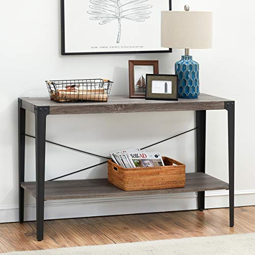 Metal Finish Table - O&K Furniture 2-Tier Industrial Sofa Table, Metal Hall Console Table with Storage Shelf for Living Room and Entryway, Gray Finish(1-Pcs)