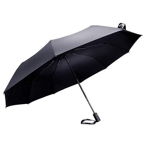 Paraguas plegable automático compacto, resistente a prueba de viento 10 costillas negro paraguas de viaje