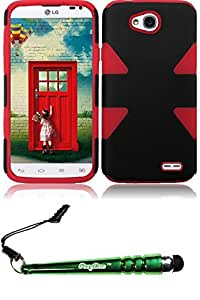 FoxyCase(TM) FREE stylus AND For LG L70 Dynamic Slim Hybrid Cover Case - Black+Red