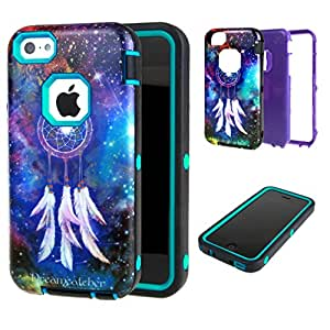 For iphone 5C , TUTUWEN Dream Catcher 3 in 1 Hybrid Layer Slim Bumper Case Protective Rear Cover for Apple iphone 5C Blue