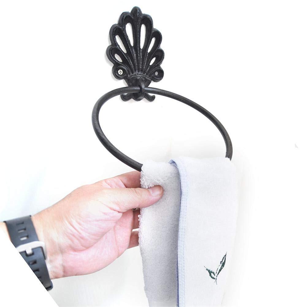 xiangpian183 Vintage Handtuchring und Toilettenpapierhalter , Badezimmerzubeh/ör Handtuchring Papierhandtuchhalter Wandhalterung Home Duschraumhalter Schwarz Messing Konstruktion Vintage Design