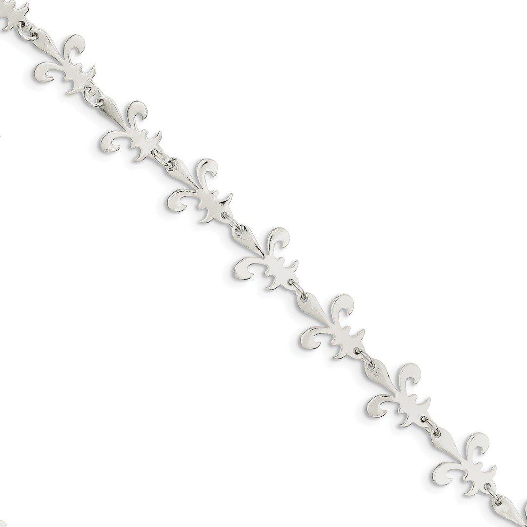 ICE CARATS 925 Sterling Silver Fleur De Lis Bracelet 7.50 Inch Fine Jewelry Ideal Gifts For Women Gift Set From Heart