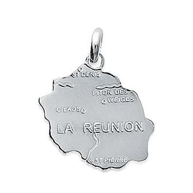 So Chic Joyas© colgante tarjeta Ile de la Reunión Plata 925 ...