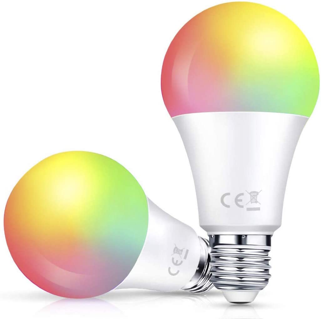7w-4 Pack E26 RGBW Color Changing Bulb Smart LED Light Bulb 2 Pack LARKKEY WiFi Multicolor Light Bulb Compatible with Alexa and Google Assistant Energy Saving and FCC Certified