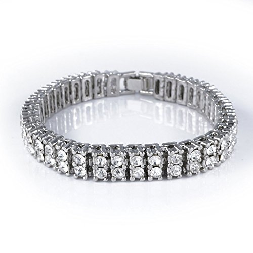Two Row Diamond Bracelet (14K White Gold Plated 2 ROW Diamond Iced Out Bracelet (7)
