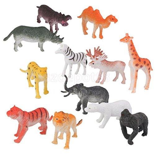 12 Plastic Zoo Figure Jungle Wild Animals Childrens Toy Party Bag Favors Set by uptogethertek