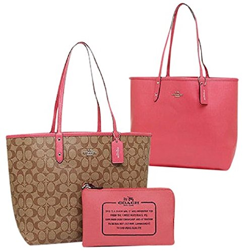 Coach F36609 Reversible PVC City Signature Tote (Bright Pink)