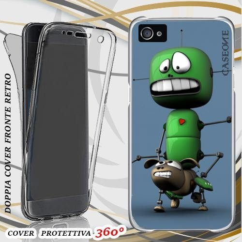 CUSTODIA COVER CASE CANE ROBOT PER IPHONE 4 FRONT BACK