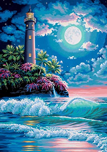 """Uniic Diamond Art Painting by Numbers Kits for Adults and Kids Full Drill - Lighthouse, 12x16"""""""